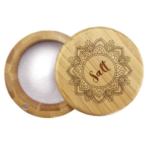 Mandala Flower - Engraved Salt Box