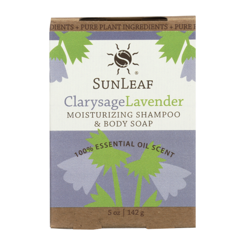 5 ounce Clary Sage & Lavender Shampoo and Body Bar by Sun Leaf Naturals