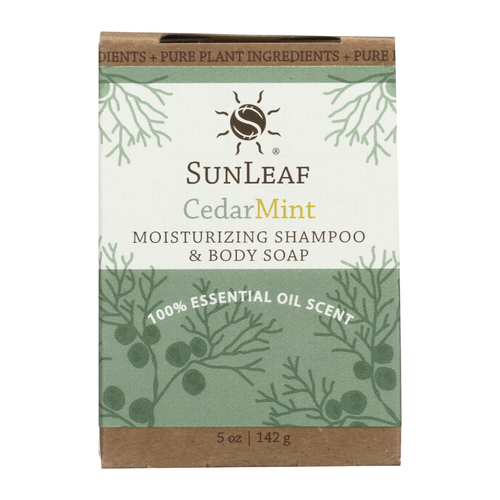 5 oz Cedar Mint Shampoo and Body Bar by Sun Leaf Naturals.
