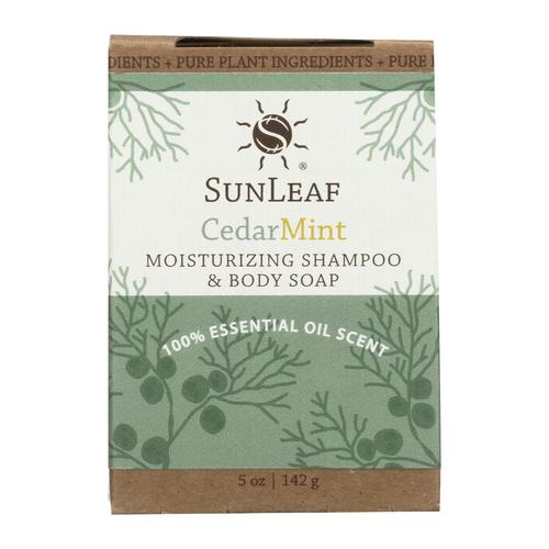 5 oz Cedar Mint Shampoo and Body Bar by Sun Leaf Naturals.