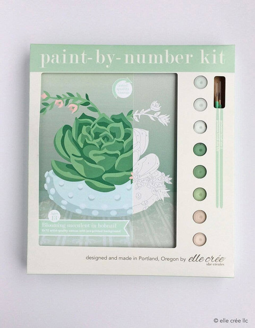 Blooming Succulent in Hobnail Bowl Paint-by-Number Kit