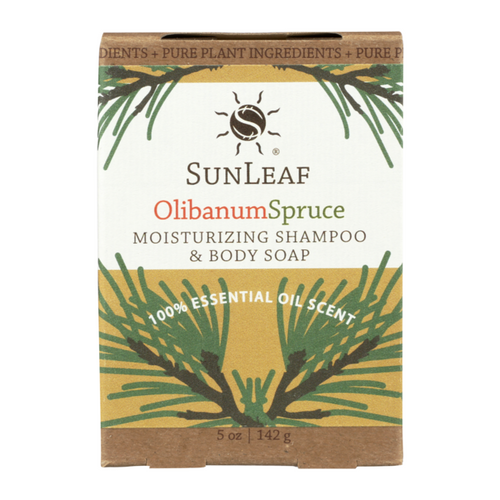 5 oz Olibanum and Spruce Shampoo and Body Bar by Sun Leaf Naturals.