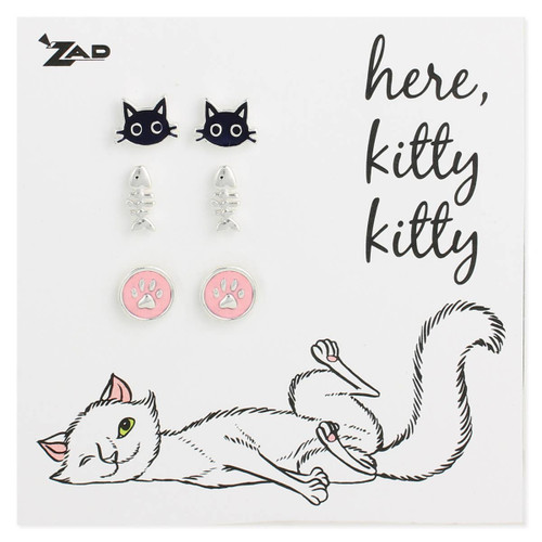 Enamel Cat Theme Post Earrings