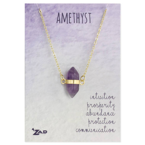 Amethyst Crystal Gold Necklace