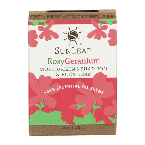 5 ounce Rosy Geranium Shampoo and Body Bar by Sun Leaf Naturals.