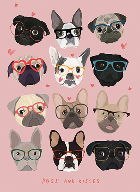 Pugs and Kisses - Valentine's Day Card