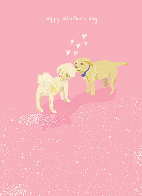 Puppies Kissing - Valentine's Day Card