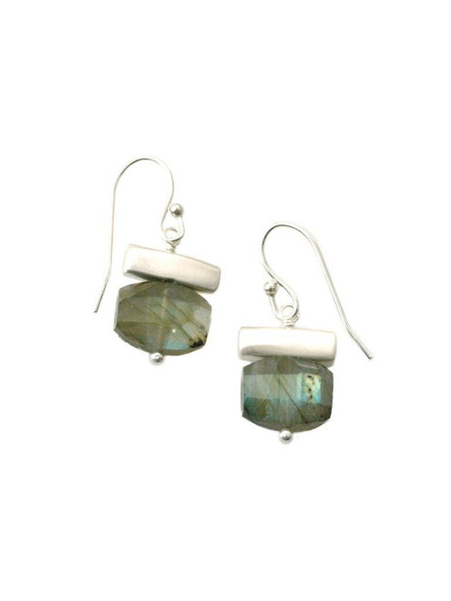 Stone - Bar with Labradorite Earrings Silver