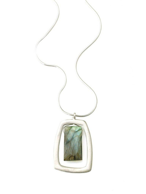 Stone - Large Rectangle with Labradorite Necklace Silver