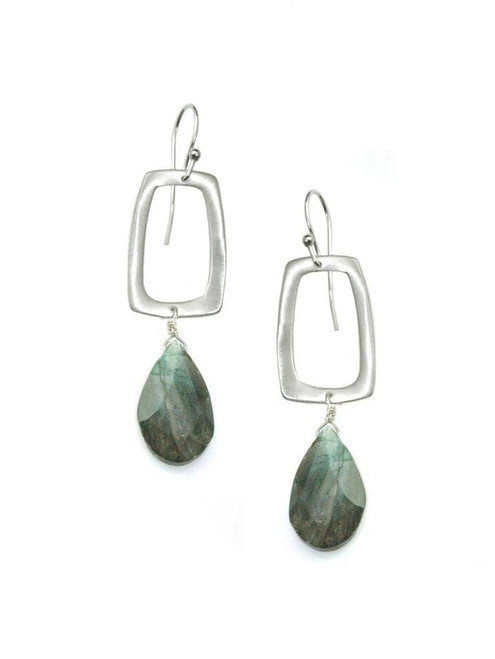 Stone - Rectangle with Labradorite Earrings Silver