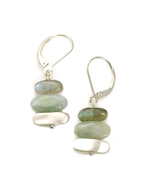 Labradorite, Aqua, Nuggets Silver Earrings