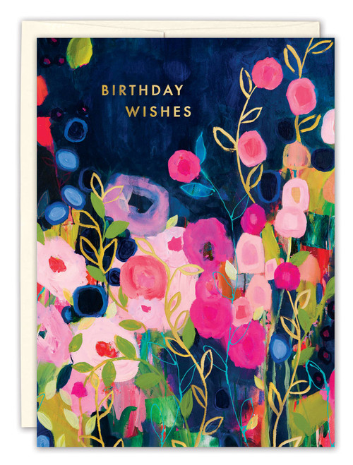 Pink and Blue Flowers Birthday Card