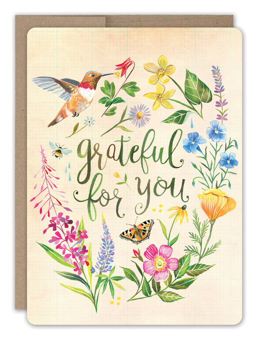 Grateful Hummingbird - Thank You Card