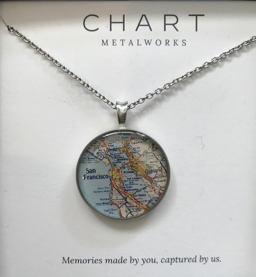 Custom Map Small Necklace Pewter
