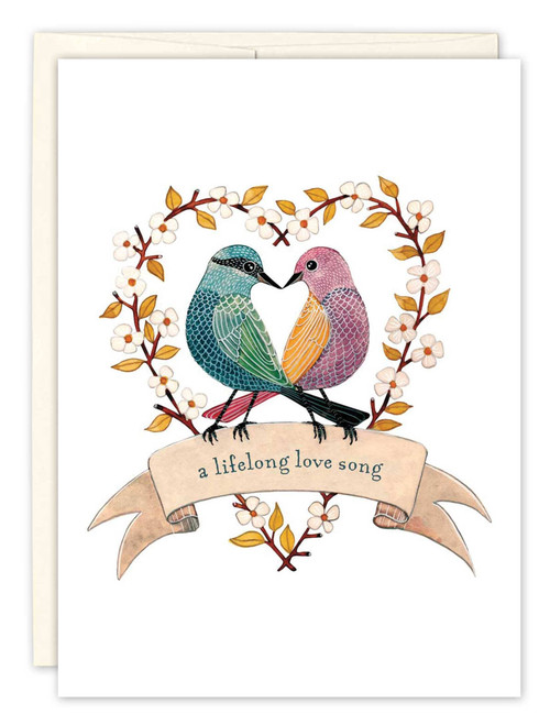 Two Birds in Heart - Wedding Card
