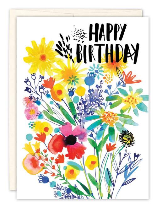 Purple Flowers - Birthday Card