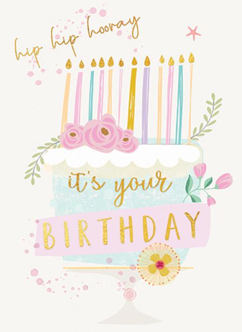 Hip Hip Hooray Cake - Birthday Card