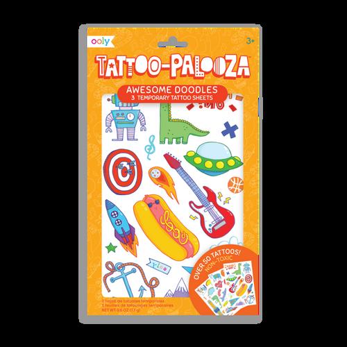 tattoo-palooza temporary tattoos - awesome doodles - 3 sheets