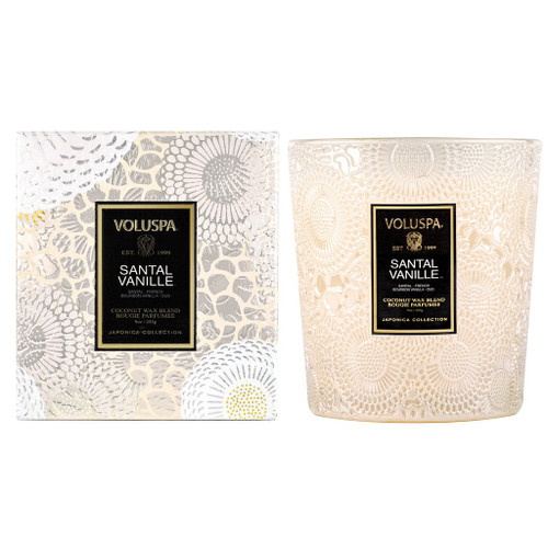 Santal Vanille Embossed 9oz Boxed Candle