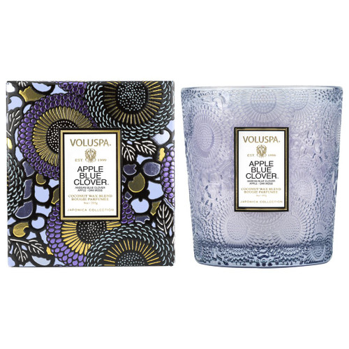 Apple Blue Clover Embossed 9oz Boxed Candle
