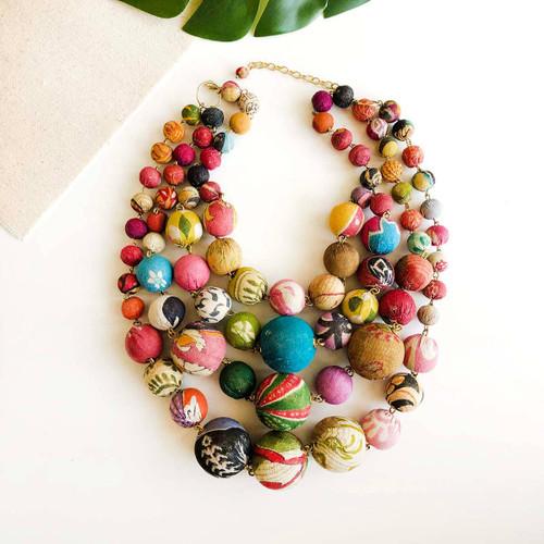Kantha Orb Necklace
