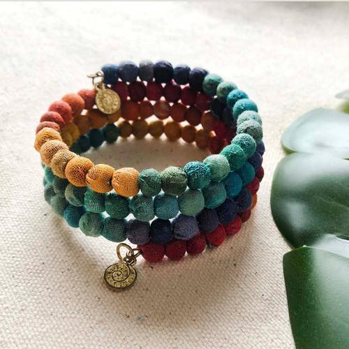 Kantha Rainbow Spiral Bracelet
