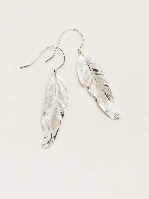 Petite Free Spirit Feather Earrings - Silver