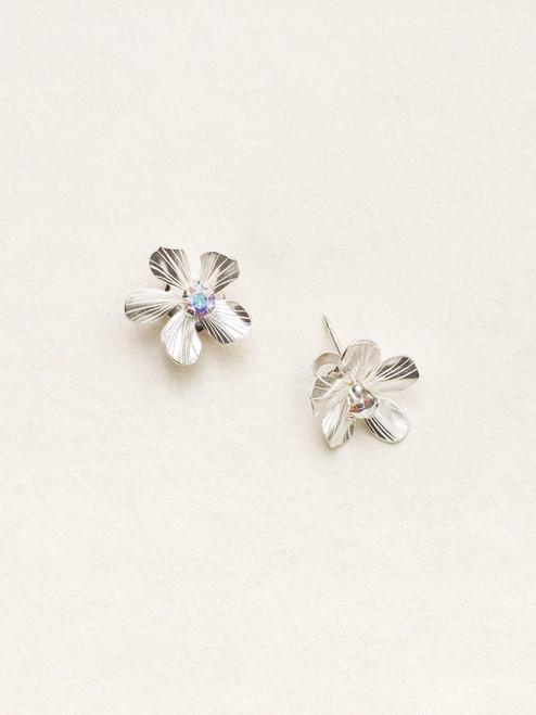 Silver/Clear Petite Plumeria Post Earrings