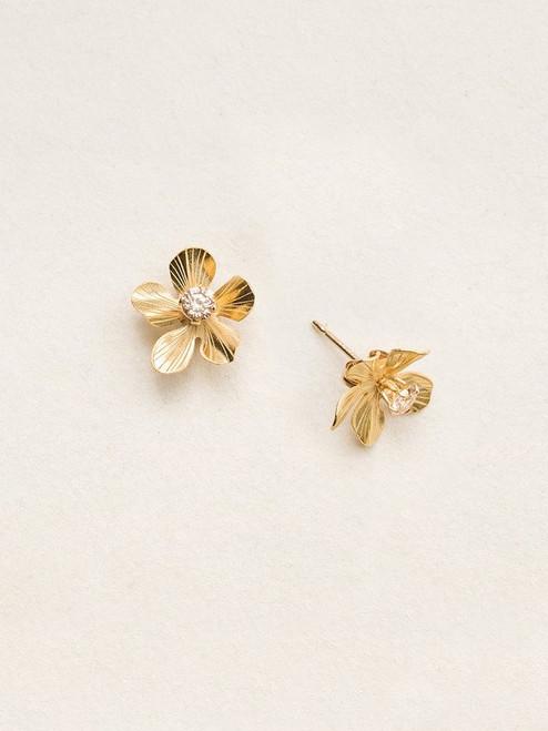 Gold/Champagne Petite Plumeria Post Earrings