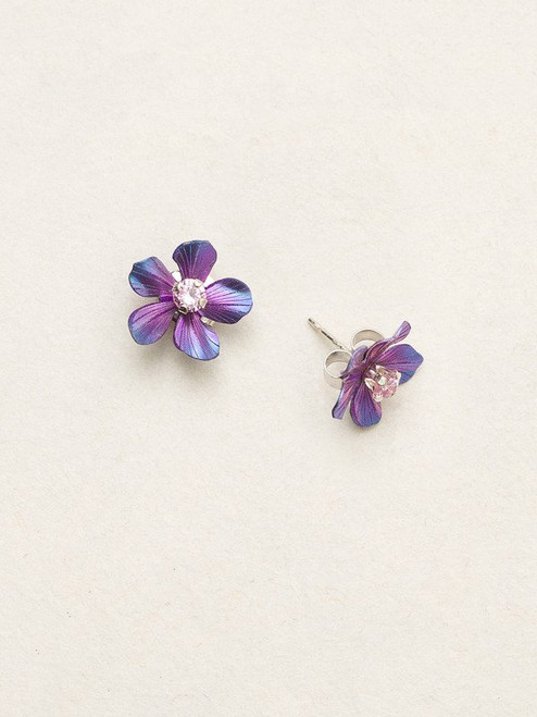Purp/Rose Plumeria Post Earrings