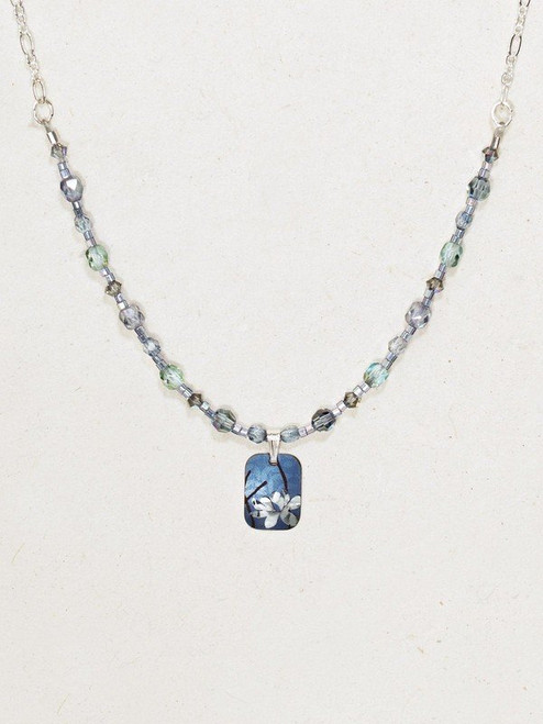 Blue / Silver Blooming Lotus Beaded Necklace