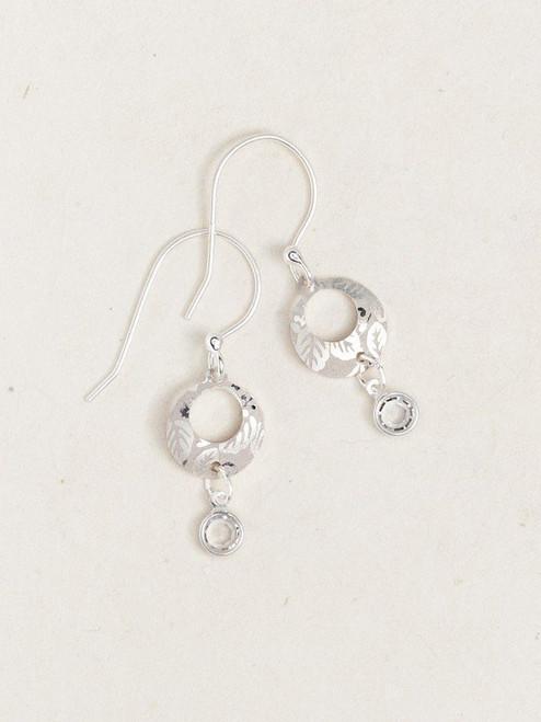 Silver Petite Sparkle Leaf Print Earrings
