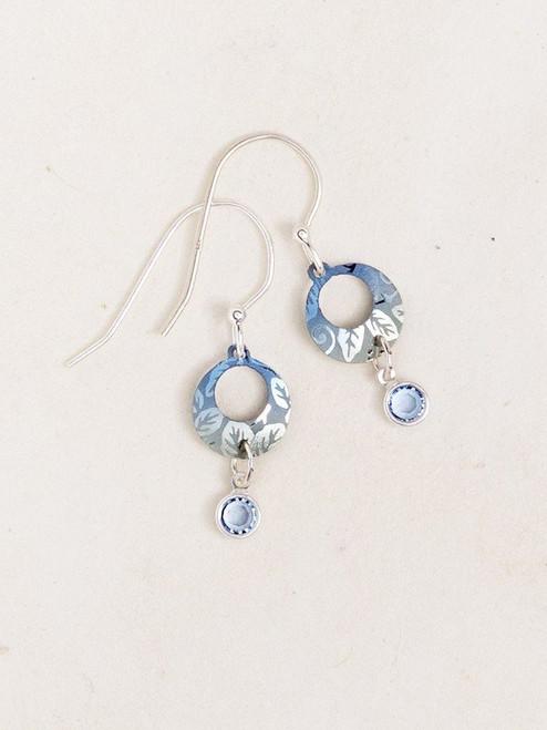 Blue Petite Sparkle Leaf Print Earrings