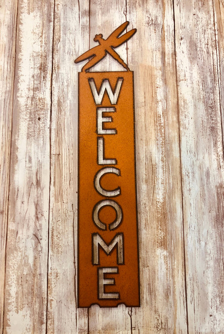Dragonfly Vertical Welcome Sign