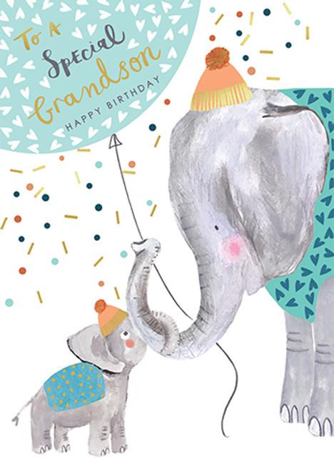Elephant Grandson - Birthday Card