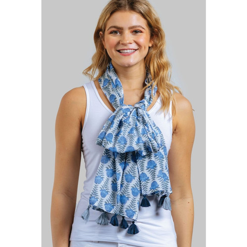 Laksha Block Print Cotton Scarf with Tassels - Silver and Blue