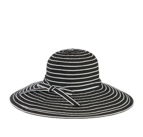 Women's Ribbon Braid Large Brim Hat with Bow Black & White Stripe