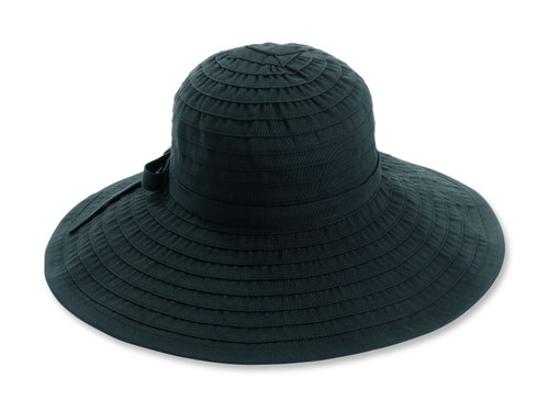Women's Ribbon Large Brim Hat with Bow - Black