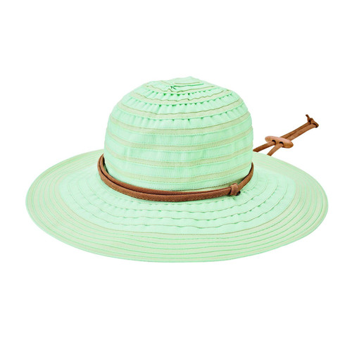 Women's Ribbon Floppy with Sueded Tie and Chin Cord Toggle - Light Blue