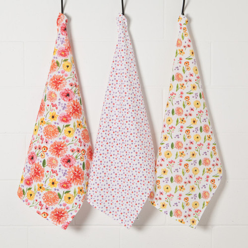 Bakers Flour Cottage Floral Tea Towel Set of 3
