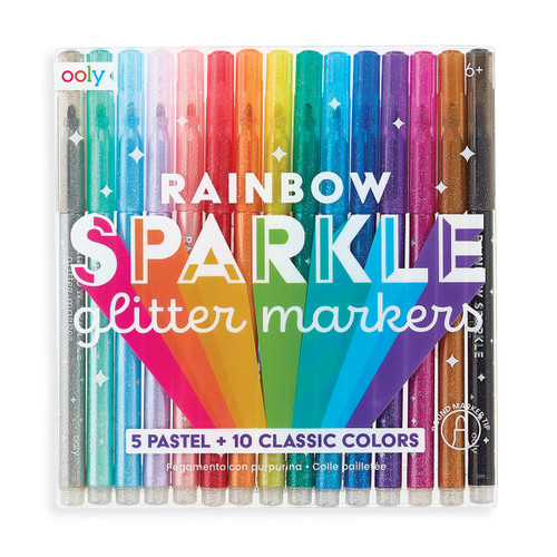 Rainbow Sparkle Glitter Markers Set of 15