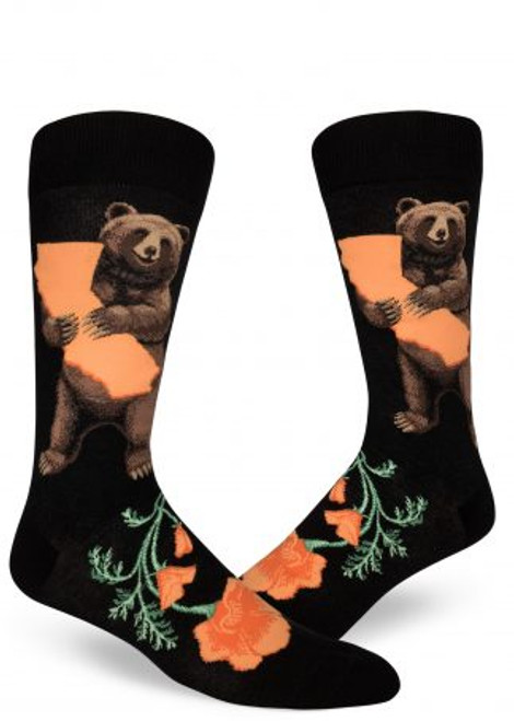 Men's California Bear Hug Crew Socks Black