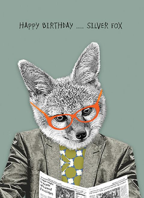 Silver Fox Birthday card