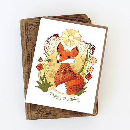 Sun Fox Birthday Card