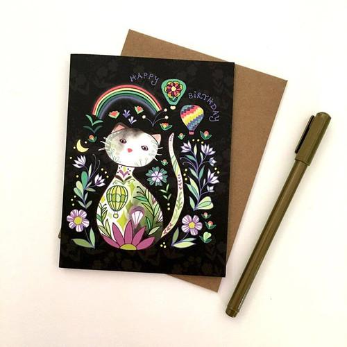 Rainbow Cat Birthday Card