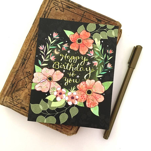 Starry Flower Birthday Card