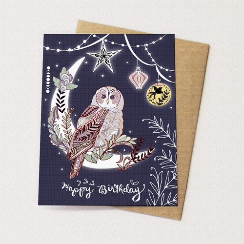 Lantern Owl Birthday Card
