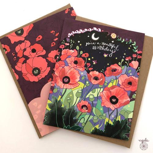 Poppies Birthday Card