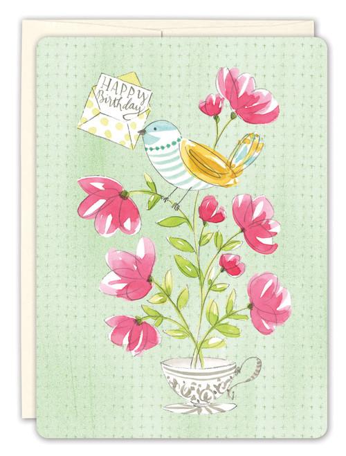 Bird Tea Cup Birthday Card