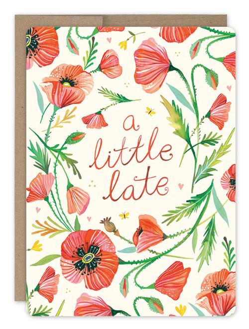 Poppy Wreath - Belated Birthday Card